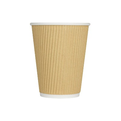 Karat C-K512W 9 Ounce Ripple Grip Sturdy Insulated To Go High Quality Recyclable Paper Hot Cups for Coffee, Tea, and Hot Chocolate, 500, Beige