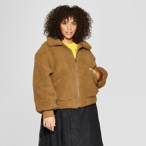 17fc86139a6 Women s Plus Size Teddy Jacket - Who What Wear™ Brown   Target
