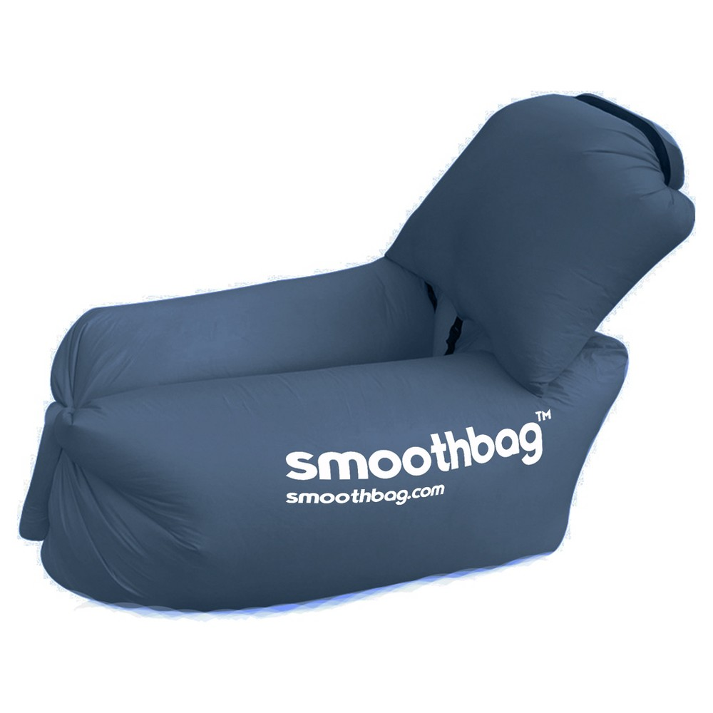SmoothBag Portable Inflatable Pop-Up Lounging Chair with Comfy Detacha - Navy (Blue)