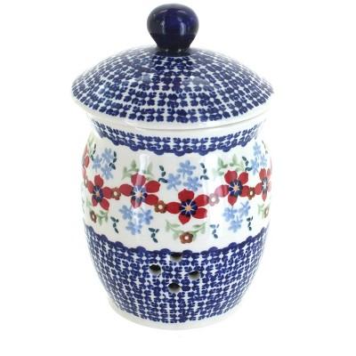 Blue Rose Polish Pottery Red Poppy Garlic Keeper