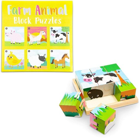 6 in 1 Wooden Block Jigsaw Puzzle, Farm Animals Wood Cube Puzzles with Tray Set, Educational Toys for Kids Toddlers, 6 Designs, 1.95 inches - image 1 of 4