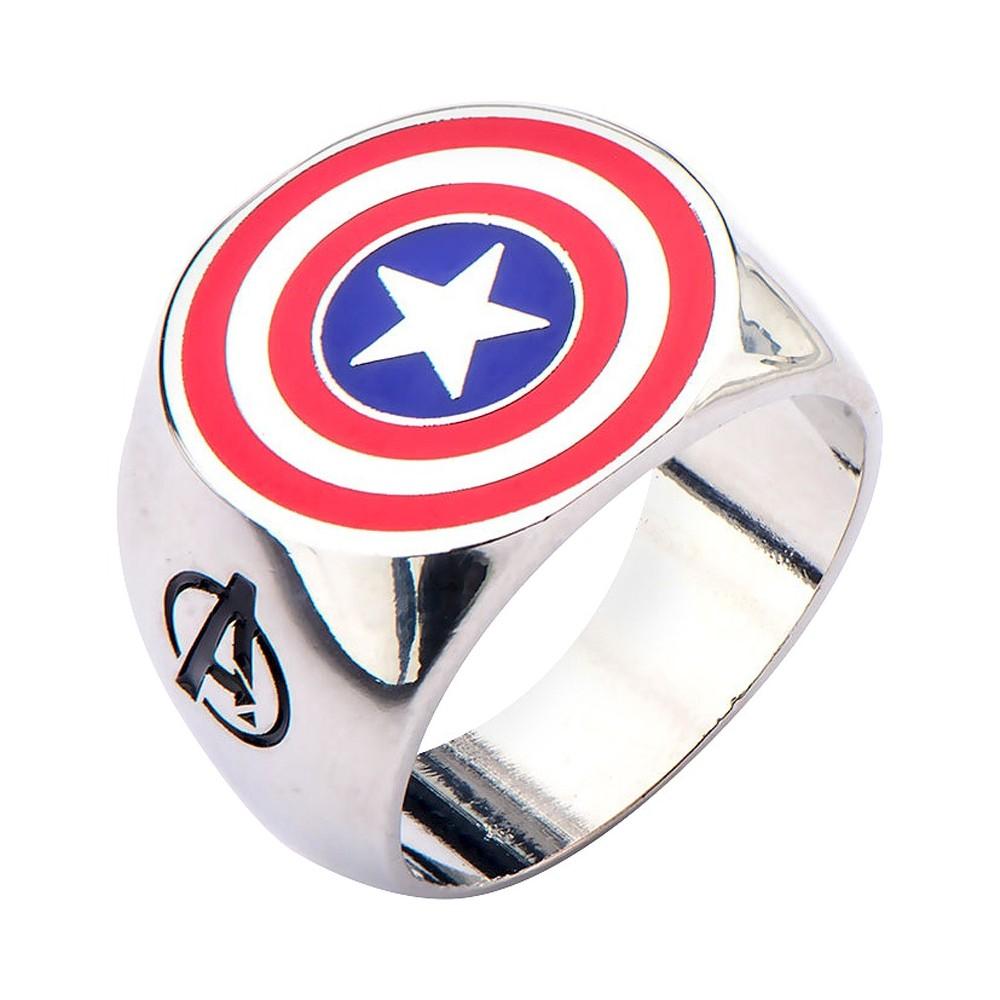 Men's Star Wars  Marvel Avengers Captain America Stainless steel Logo Ring Best Seller, Size: 11, Silver