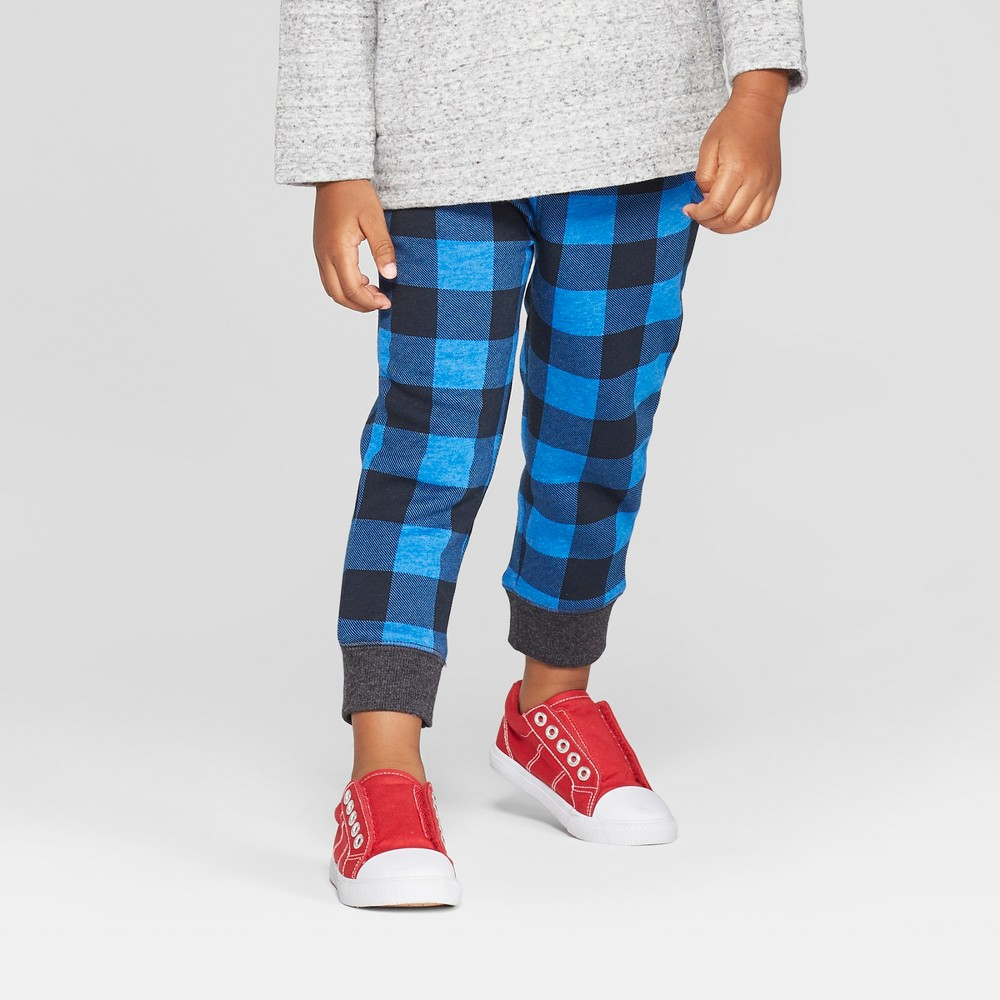 Toddler Boys' Plaid Pull-On Jogger - Cat & Jack Blue 12M