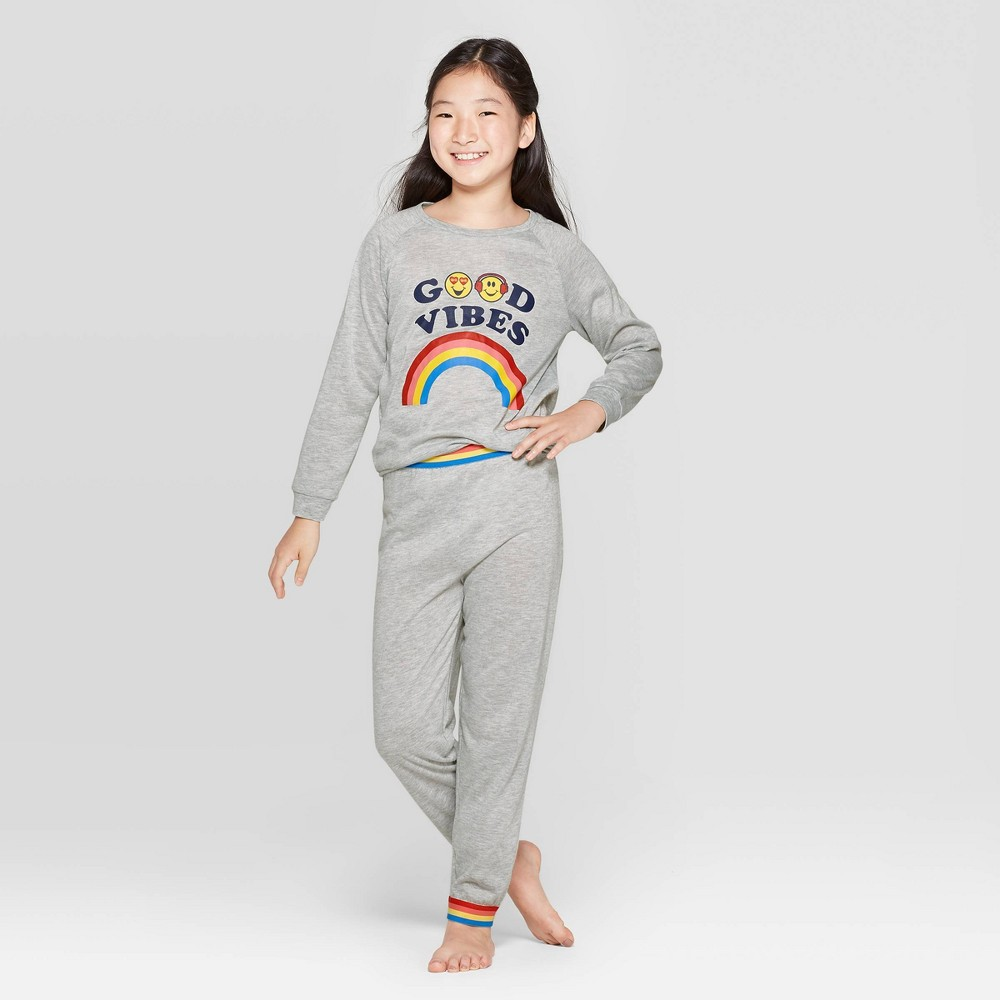 Image of Girls' EmojiNation 2pc Pajama Set - Gray XS, Girl's