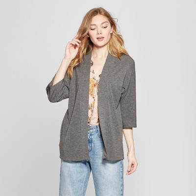 Women's Open Front 3/4 Sleeve Knit Cardigan - A New Day™ Dark Heather Gray L