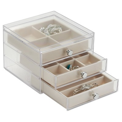 InterDesign 3 Jewelry Box - Clear Ivory