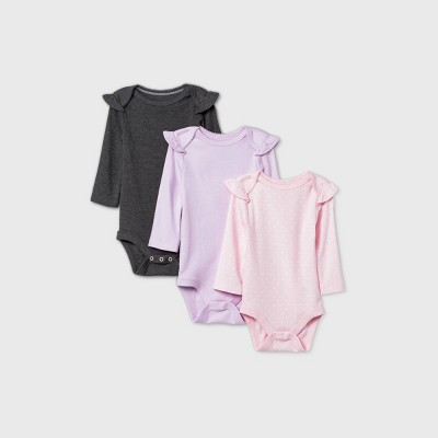 Baby Girls' 3pk Ruffle Long Sleeve Basic Bodysuit - Cloud Island™ Purple 0-3M