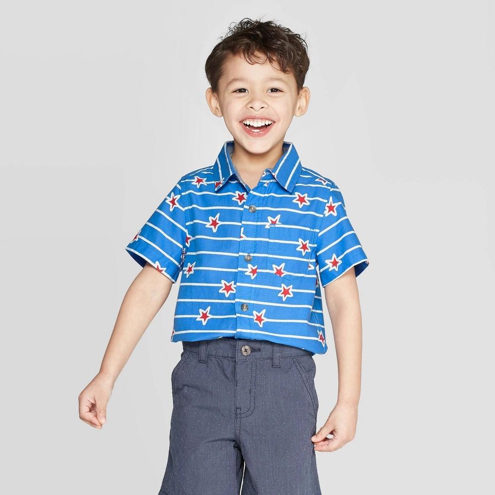 Toddler Boys' Short Sleeve Slub Poplin Novelty Print Button-Down Shirt - Cat & Jack Blue 12M