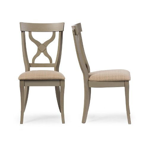 Balmoral Chic Country Cottage Antique Oak Wood & Distressed Light Gray X-Back Dining Side Chairs (Set of 2) - Baxton Studio - image 1 of 4