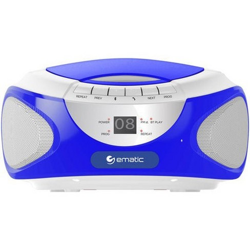 Ematic CD Boombox with Bluetooth Audio & Speakerphone EBB9224 - 1 x Disc Integrated Stereo Speaker - Blue - CD-DA - Auxiliary Input - image 1 of 1