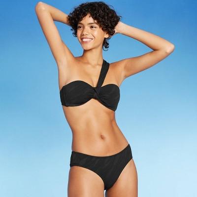 Juniors' Textured One Shoulder Bandeau Bikini Top - Xhilaration™ Black