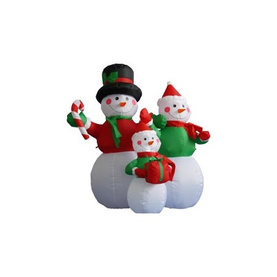 LB International 4' Red and White Inflatable Lighted Snowman Family Christmas Outdoor Decor