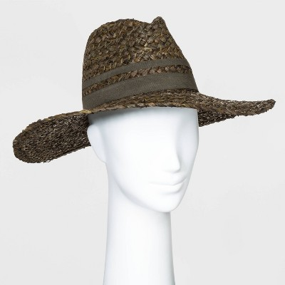 Women's Straw Wide Brim Fedora Hats - Universal Thread™ Black One Size