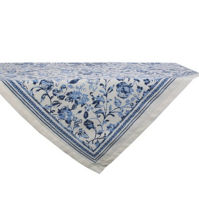 "40"" Cotton Madiera Print Table Topper Blue - Design Imports"