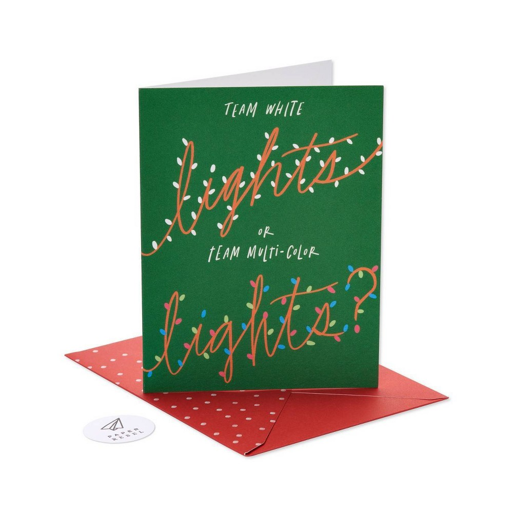 Image of Paper Rebel Team Lights Greeting Card Pack American Greetings, Green