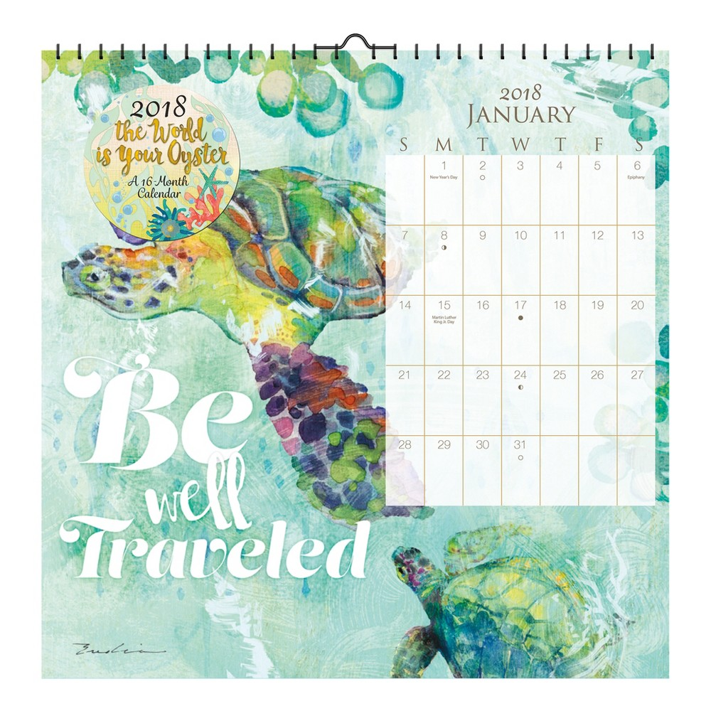 2018 The World is Your Oyster Evelia Art Wall Calendar - Trends International, Multi-Colored