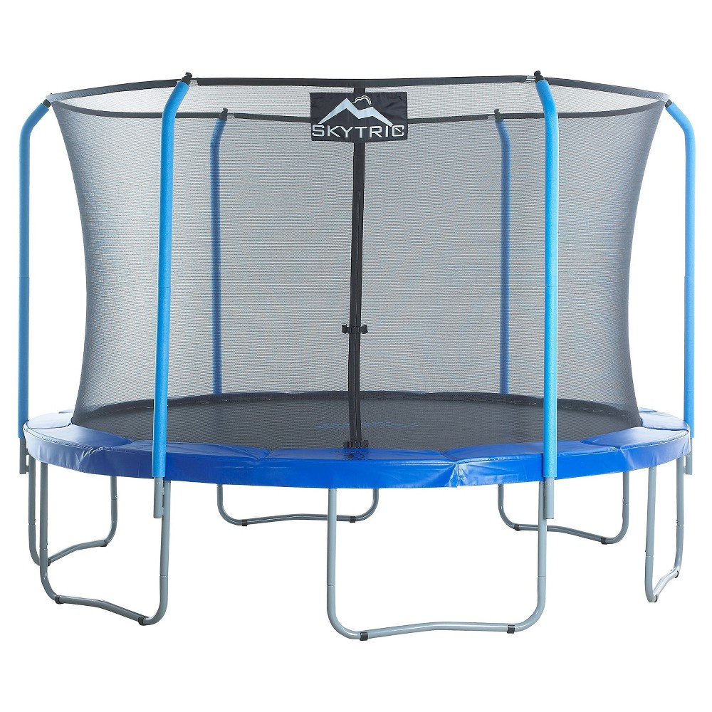 Skytric 11' Trampoline with Top Ring Enclosure System equipped with the