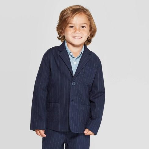 OshKosh B'gosh Toddler Boys' Pinstripe Suit Jacket - Navy - image 1 of 3