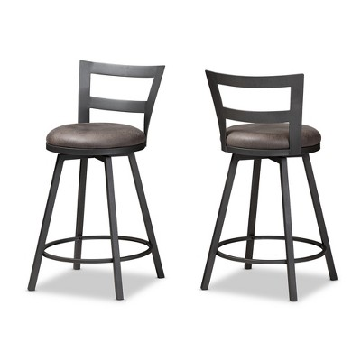 Set of 2 Arjean Faux Leather Upholstered Pub Counter Height Barstools Gray/Black - Baxton Studio