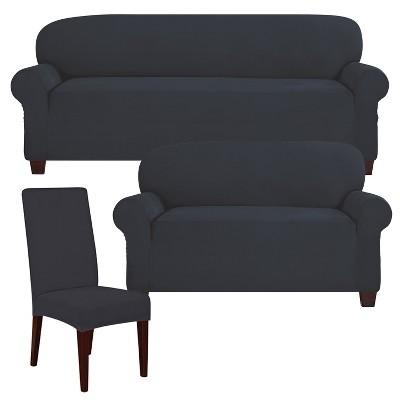 Admirable Storm Blue Designer Suede Loveseat Slipcover Sure Fit Unemploymentrelief Wooden Chair Designs For Living Room Unemploymentrelieforg