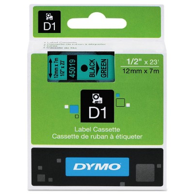 DYMO D1 Standard Tape Cartridge for Dymo Label Makers - 1/2in x 23ft - Black on Green