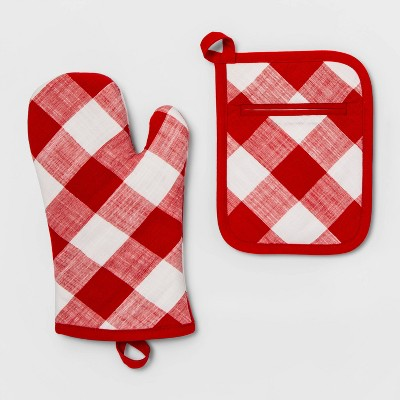 Check Pot Holder/Oven Mitt Set Red - Threshold™