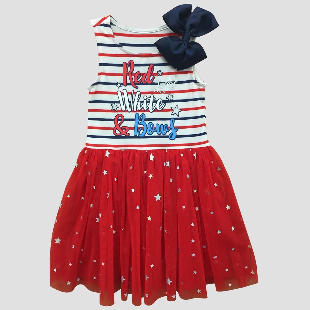 Girls' Nickelodeon JoJo Siwa 'Red White & Bows' Skater Dress - White/Red S