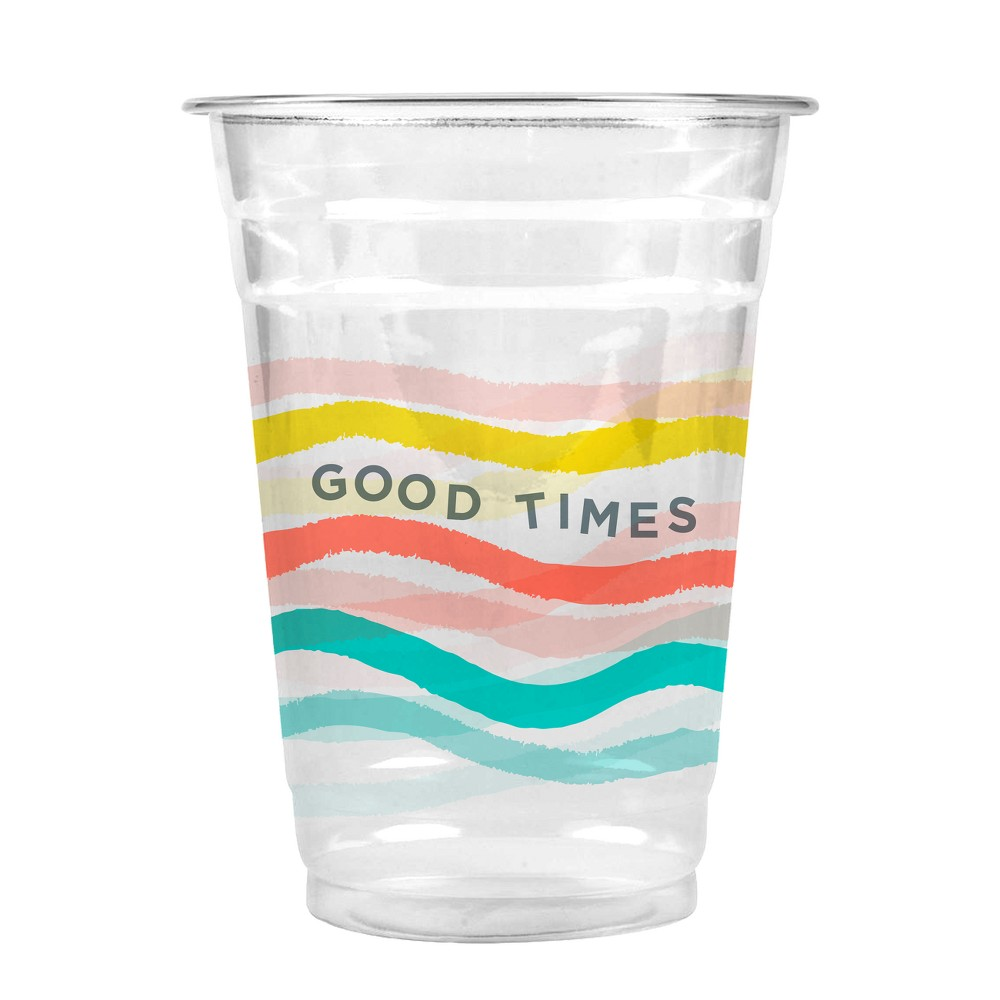 Oh Joy! for Cheeky Good Times Rainbow Wave 16oz Cold Cups - 20ct, Yellow