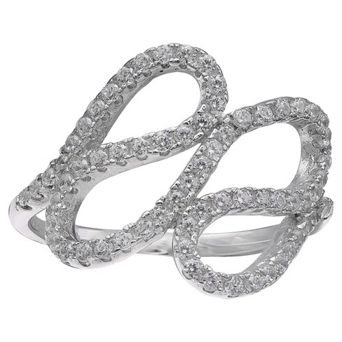 Women's Pave Cubic Zirconia Swirl Ring in Sterling Silver - Clear/Gray - image 1 of 2