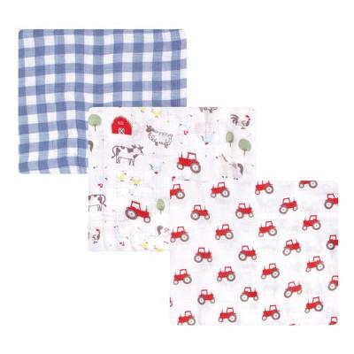 Hudson Baby Infant Boy Cotton Muslin Swaddle Blankets, Boy Farm Animals, One Size