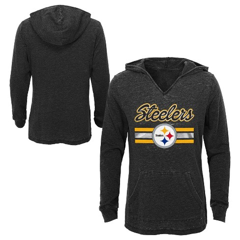 406e5cb70ed Pittsburgh Steelers Girls  Game Time Gray Burnout Hoodie L   Target