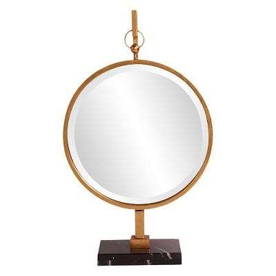 Round Medallion Decorative Wall Mirror Gold - Howard Elliott