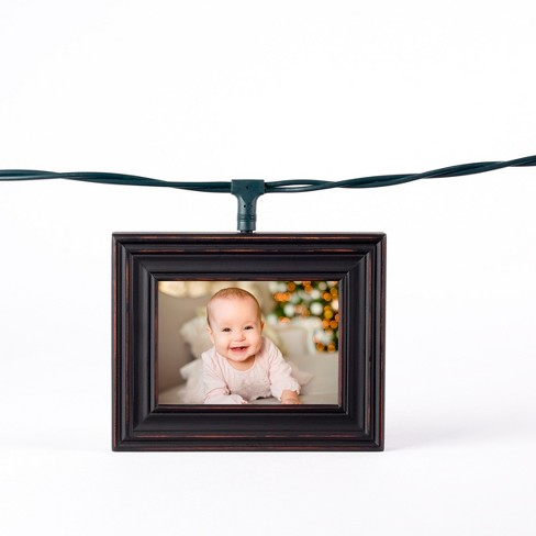 Wood Photo Frame String Led Light Boxes Black Polaroid Target