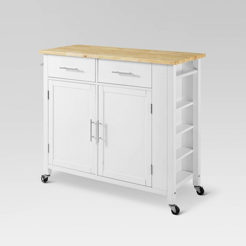 Full Savannah Wood Top Kitchen Island Cart White Natural Crosley