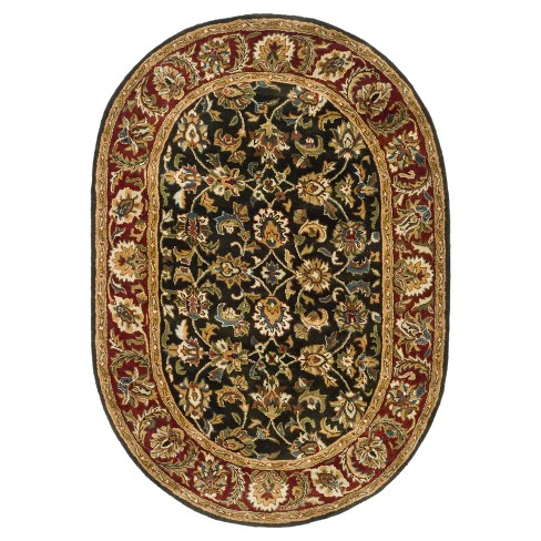 "Dark Olive/Red Floral Tufted Oval Area Rug 7'6""X9'6"" - Safavieh - image 1 of 2"