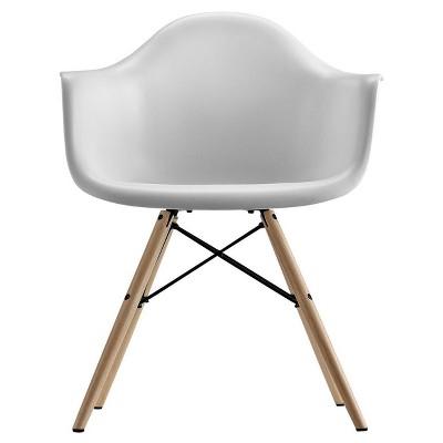 Becca Mid-Century Modern Molded Armchair with Wood Leg White - Room & Joy