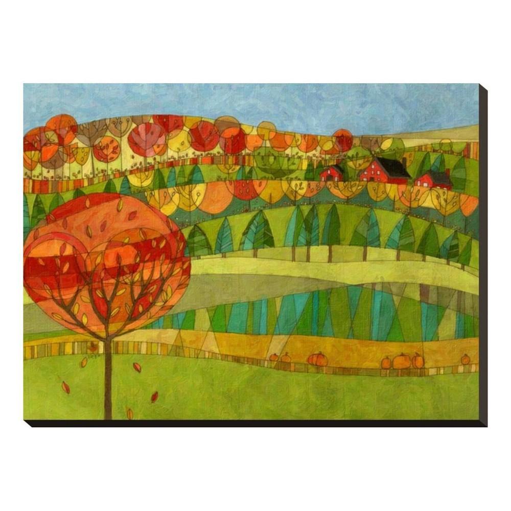 Lana's Window Fall Landscape Hillside Autumn Season By Robin Pickens Stretched Canvas Print 27x20 - Art.com, Multicolored