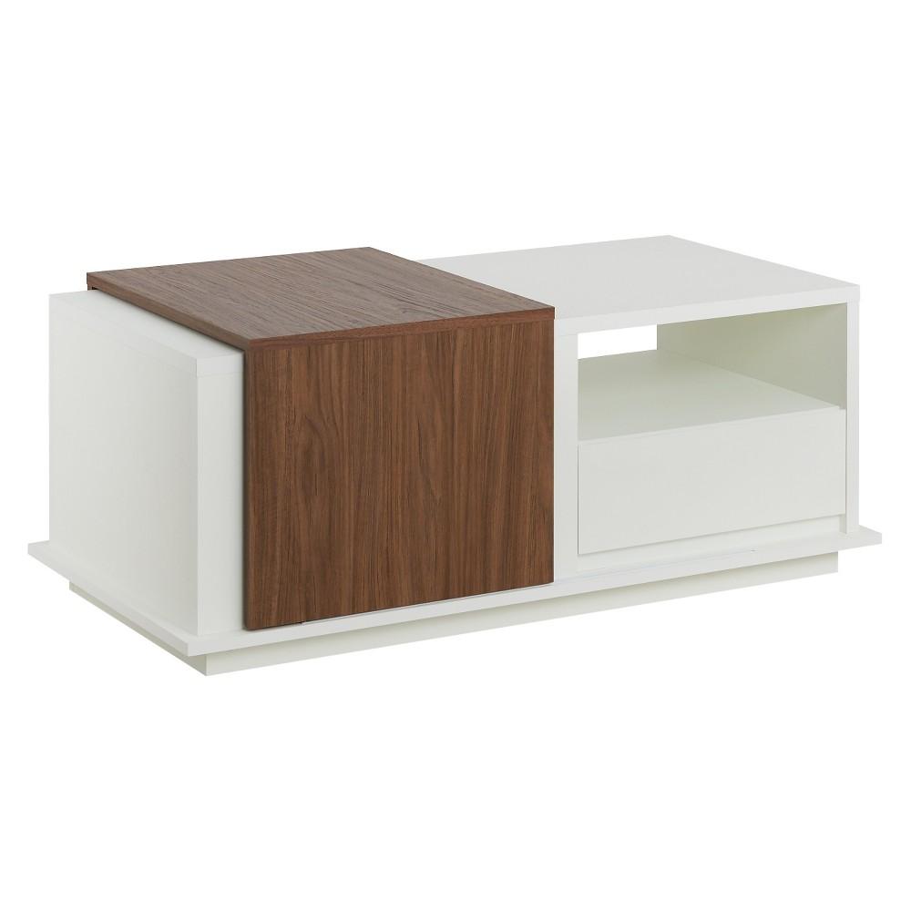 Carmine Modern Two Tone Slide Top Storage Coffee Table White Walnut Homes Inside Out