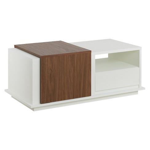 Carmine Modern Two-tone Slide Top Storage Coffee Table White/Walnut - ioHOMES - image 1 of 4