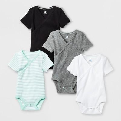 Babys' 4pk Kimono Shorts sleeve Bodysuit - Cloud Island™ Black Newborn