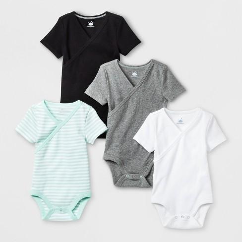 Babys' 4pk Kimono Shorts sleeve Bodysuit - Cloud Island™ Black - image 1 of 1