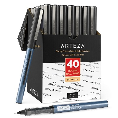 Arteza Roller Ball Pens, Black, 0.5 mm Needle Point - Pack of 40