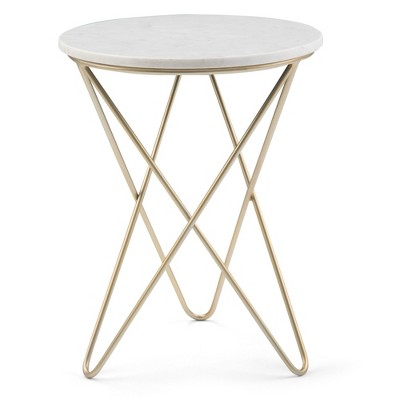 """18"""" Rivley Accent Table White/Gold - WyndenHall"""