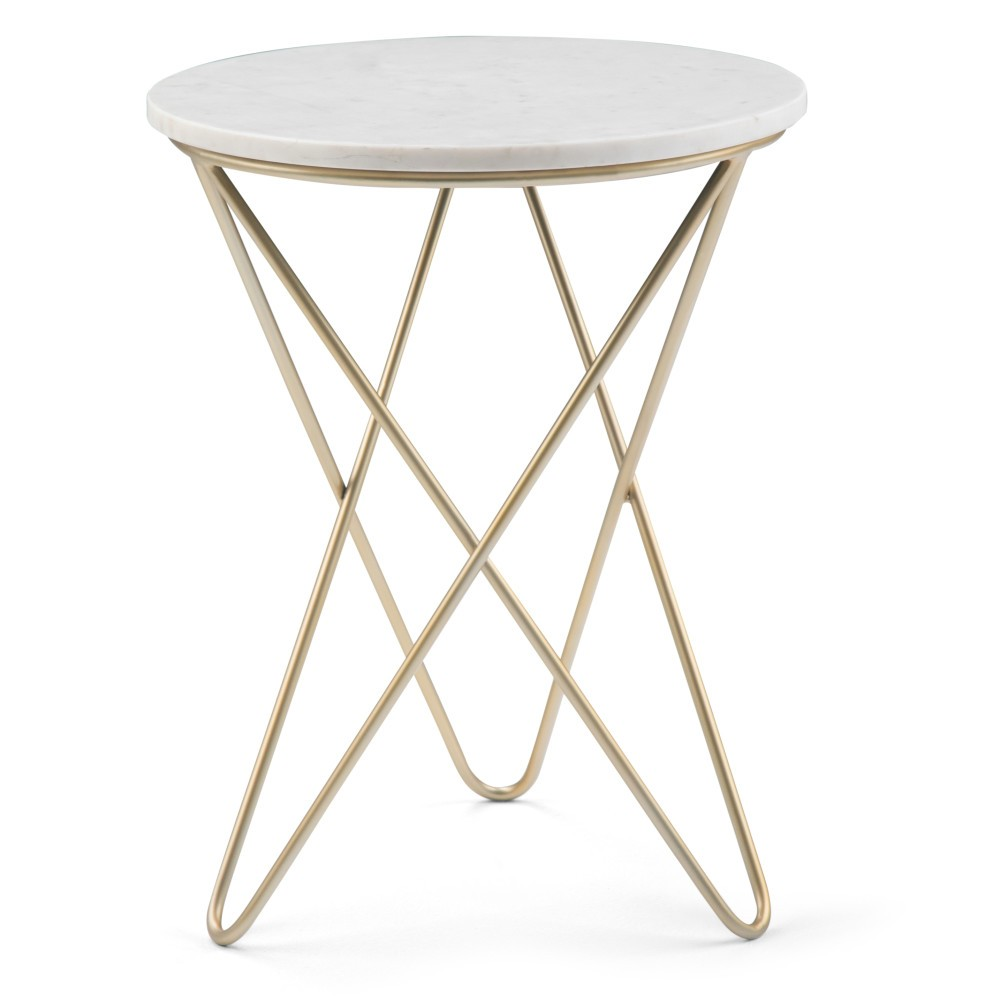 Rivley Accent Table White/Gold - Wyndenhall
