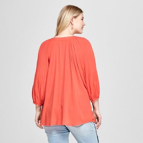 c32e3056b72 Women s Plus Size Pleated 3 4 Sleeve Blouse - Ava   Viv™ Orange 2X   Target