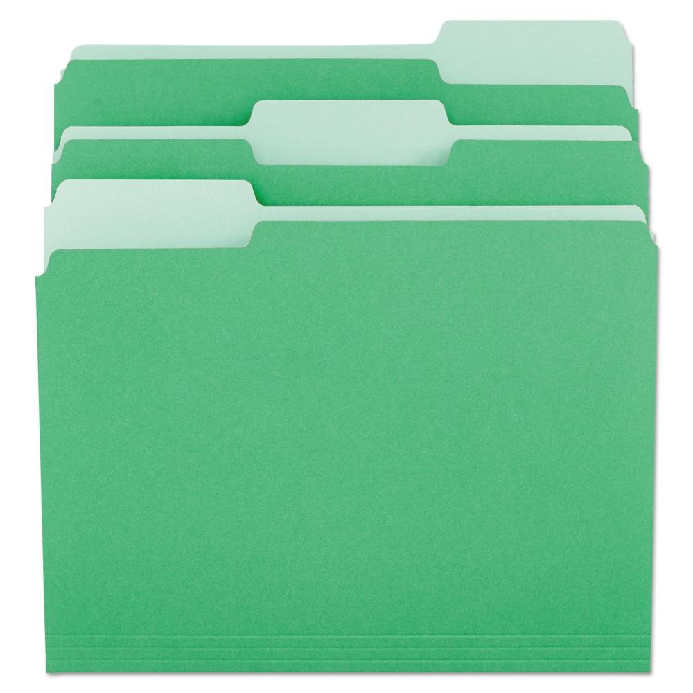 Best Discount Universal File Folders 13 Cut One Ply Tab Letter GreenLight Green 100Box