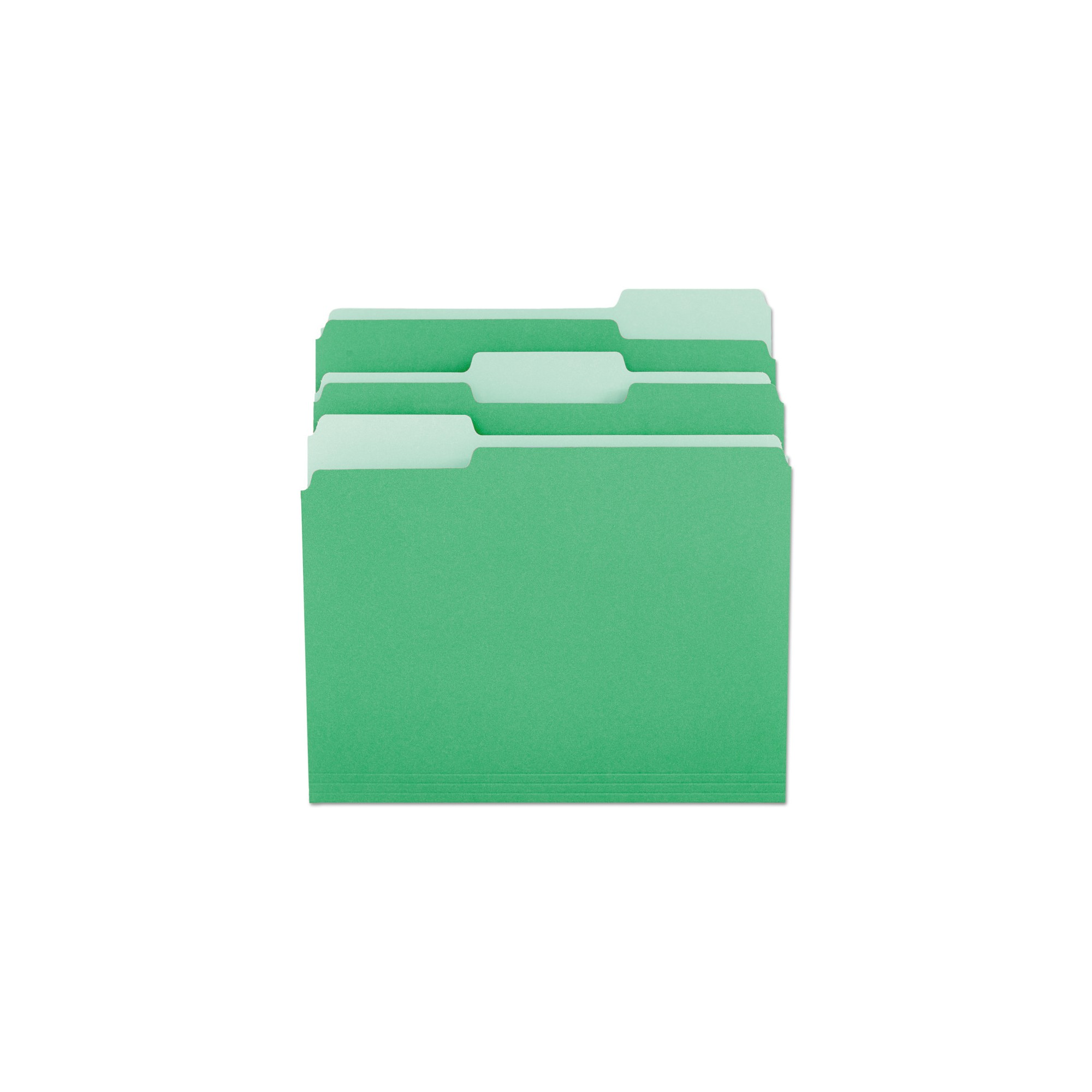 Universal File Folders, 1/3 Cut One-Ply Tab, Letter, Green/Light Green, 100/Box
