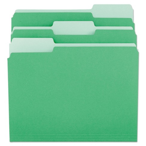 Universal® File Folders, 1/3 Cut One-Ply Tab, Letter, Green/Light Green, 100/Box - image 1 of 3