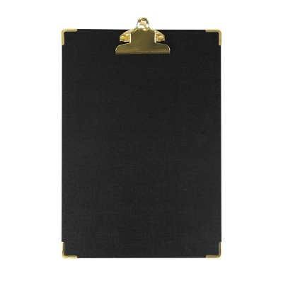 """9"""" x 13"""" Textured Black Clipboard with Gold Accents - greenroom"""