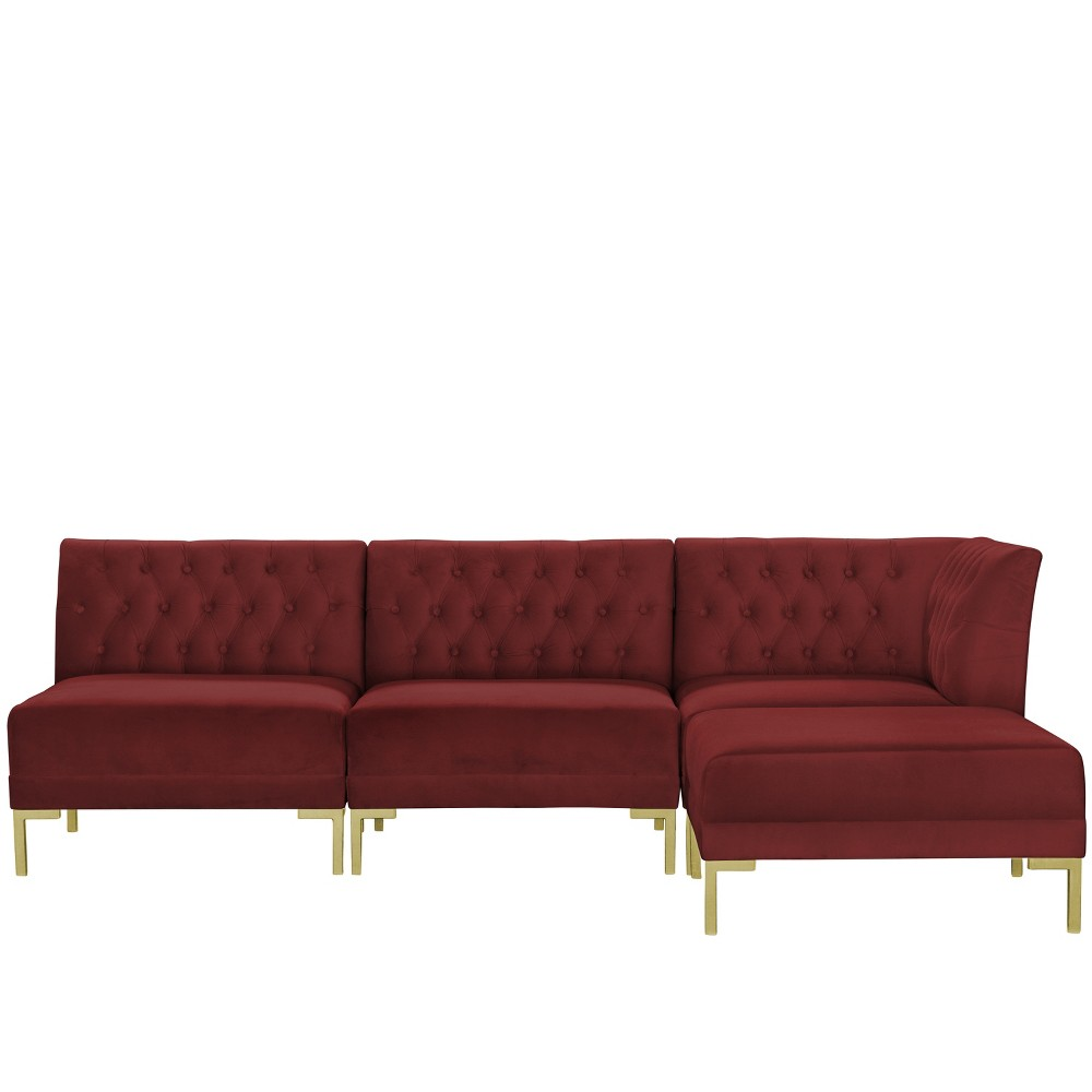4pc Audrey Diamond Tufted Sectional Dark Berry Velvet and Brass Metal Y Legs - Cloth & Co.
